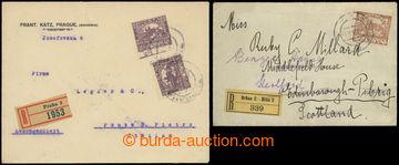 222027 - 1919 sestava 2ks R-dopisů zaslaných do Anglie a Itálie v