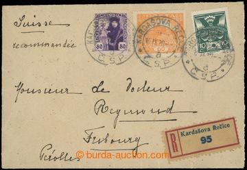 222029 - 1920 ŠLECHTICKÁ KORESPONDENCE / R-dopis zaslaný do Švýc
