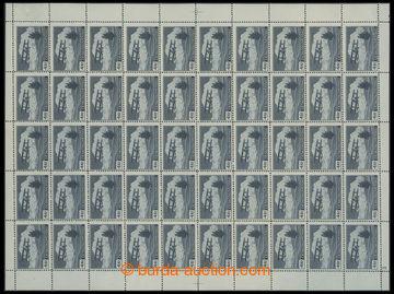 222160 -  Pof.L11, 4Kč II. typ modrošedá, kompletní 50ks arch s D