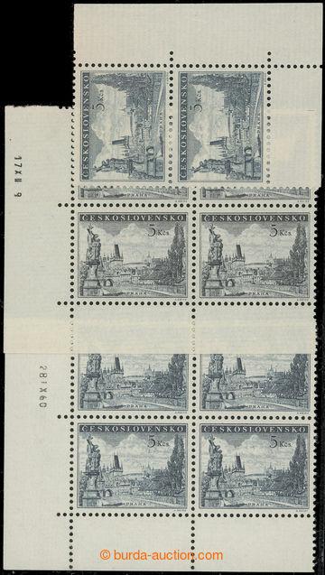 222166 - 1953 Pof.742, Karlův most 5 Kčs, sestava odstínů a), b)