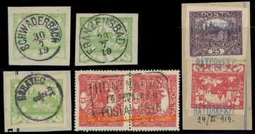 222281 - 1919 RAZÍTKA / sestava 5ks zn. a výstřižků se zn. Hrad�