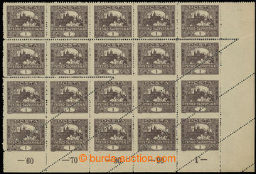 222285 -  Pof.1C, 1h hnědá, perforace ŘZ 13¾, pravý dolní 20-bl