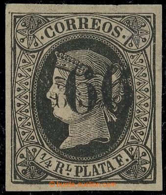222333 - 1866 Edifil.17A, Isabela II. ¼R černá se DVĚMA přetisky