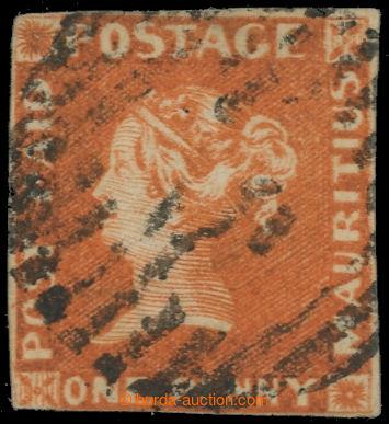 222376 - 1848 SG.3, ČERVENÝ MAURITIUS POST PAID, 1P orange vermilio