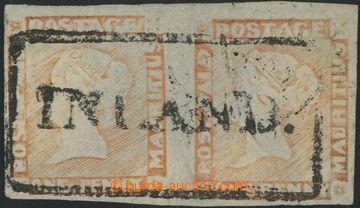 222378 - 1848-1859 SG.18, ČERVENÝ MAURITIUS POST PAID, 2-páska 1P