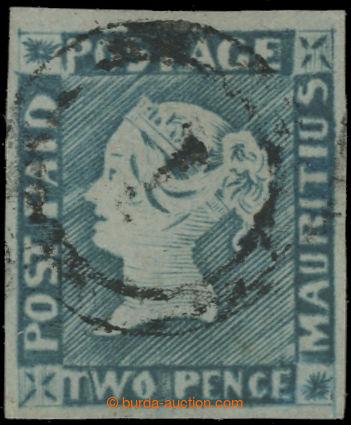 222379 - 1848-1859 SG.14, MODRÝ MAURITIUS POST PAID, 2P blue interme