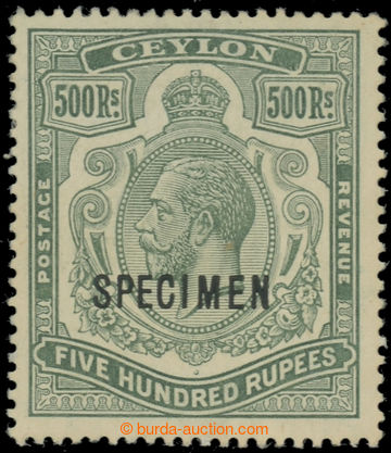 222381 - 1912 SG.322s, Jiří V. 500Rs zelená SPECIMEN, průsvitka m