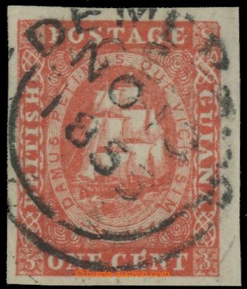 222385 - 1853 SG.11, Tallship 1C vermilion (lithografie Waterlow), be