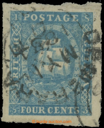 222386 - 1854 SG.19, Tallship 4C modrá (lithografie Waterlow) s DR D