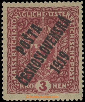 222388 - 1919 Pof.49aI, Znak 3K tmavě červená, úzký formát, bez