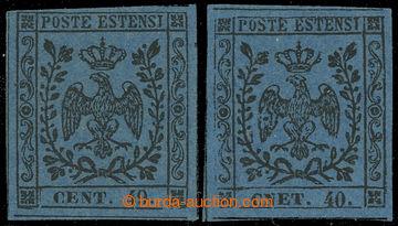 222448 - 1852 Sass.10a + 10f, Znak 40C, dva chybotisky CNET 40 a CENT