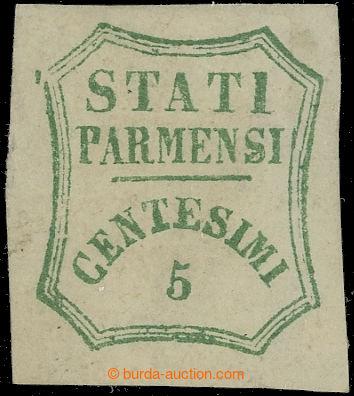 222451 - 1859 Sass.12, STATI PARMENSI 5C modro zelená; bezvadná, zk