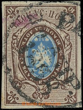 222452 - 1858 Mi.1, Znak 10 kop. tmavě hnědá / modrá; s krásným
