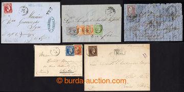 222454 - 1866-1880 sestava 5 dopisů se zajímavými frankaturami Vel