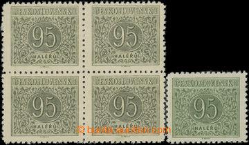 222461 - 1954 Pof.D84, Doplatní 95h, 4-blok zdotisku zpočátku