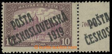 222496 -  Pof.118, 10Kč hnědá / fialová s pravým okrajem s poč�