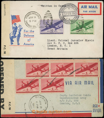 222516 - 1941-1943 2x Let dopis zaslaný z USA do Anglie na P.O. Box
