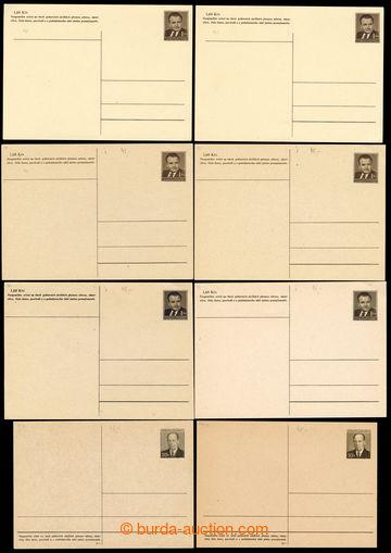 222566 - 1950-1956 sestava 8ks dopisnic nepoužitých Gottwald 1,50K�