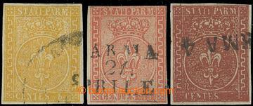 222590 - 1853 Sass.6-8, Znak 5C-25C, kompletní 2. emise; vícekrát