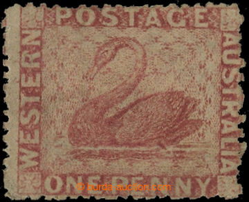 222600 - 1861 SG.33, Black Swan 1P rose, perforace 14-16 intermediate