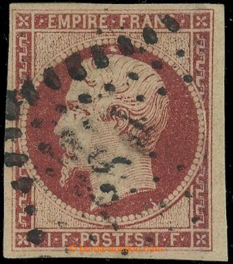 222623 - 1853 Mi.17a, Napoleon III. 1Fr karmínová; vpravo zúplněn