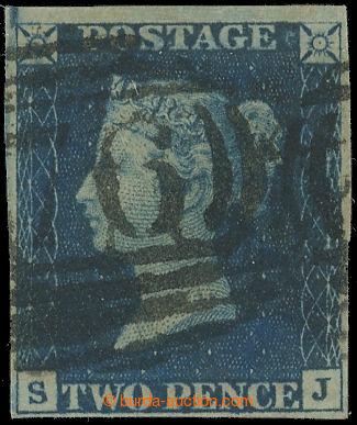 222626 - 1840 SG.5, TWO PENCE BLUE, modrá, TD 1 s razítkem typu 184