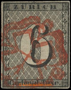 222630 - 1843 Zürich / Mi.2II, Číslice 6Rp černá s vodorovným �