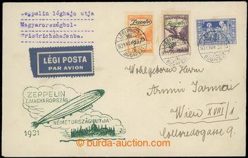 222633 - 1931 UNGARNFAHRT / zeppelinový dopis, Sie.103c s oběma zn.