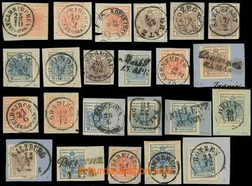 222663 - 1850 SESTAVA / 23ks výstřižků Znak 3Kr, 6Kr, 9Kr - různ