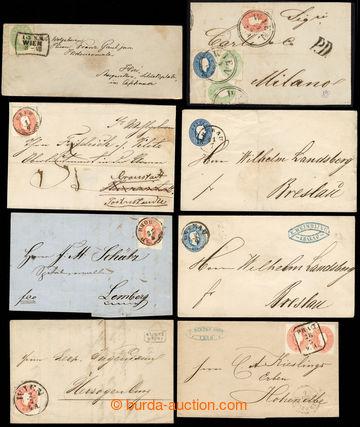 222683 - 1861 sestava 11ks dopisů a celin, mj. 3-barevná frankatura