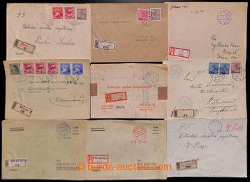 222688 - 1945 sestava 14ks R-dopisů s provizorními raz. s pevným v