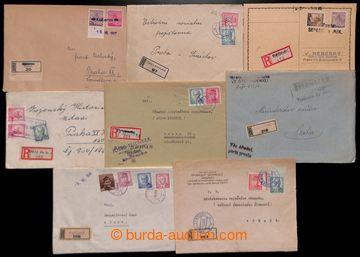 222690 - 1945-1946 sestava 8ks R- zásilek z různými s provizorním