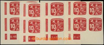 222749 - 1945 Pof.NV24 DČ, Novinové 10h, sestava 4ks levých dolní