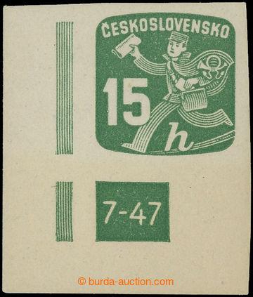 222750 - 1945 Pof.NV25 DČ, Novinová 15h, pravý dolní rohový kus