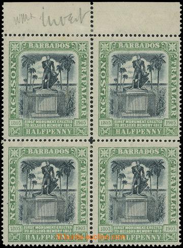 222763 - 1943 SG.146w, Nelson ½P zelená, krajový 4-blok s transpar