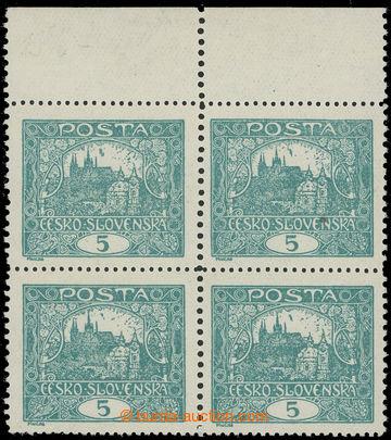 222780 -  Pof.4F Is, 5h tmavě zelená, 4-blok s horním okrajem, nep