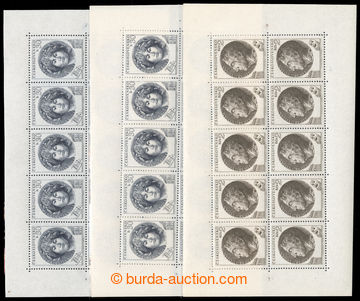 222808 - 1953 Pof.PL757II, III, 759, Destinnová 30h II. a III. typ +