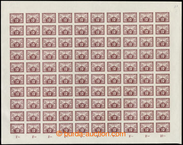 222813 - 1919 ARCHOVINA /  Pof.S3, 10h hnědá, kompletní 100ks arch