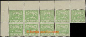 222854 -  Pof.3E, světle zelená, levý horní 9-blok, perforace ŘZ