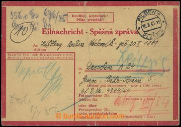 222869 - 1945 CSZ1, typ II., spěšná zpráva zaslaná z Plzně do D