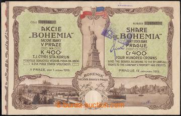 222882 - 1919 ČSR / akcie banky BOHEMIE v Praze na 400K, ze dne 1.1.