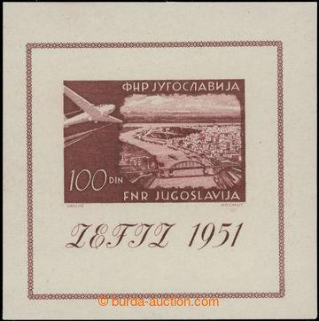 223100 - 1951 Mi.Bl.5, aršík Výstava Záhřeb 100Din; bezvadný, k