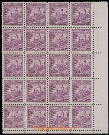 223122 - 1932 Pof.265, Křivoklát 3,50Kč fialová, pravý dolní 20