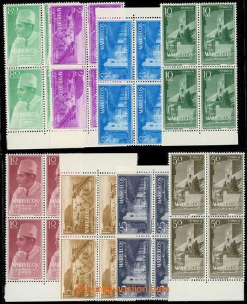 223125 - 1956 SEVERNÍ MAROKO / Mi.1-8, Motivy 10C - 10Pta ve 4-bloc�