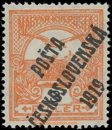 223166 -  Pof.91, 3f oranžová / černá, III. typ; po nálepce, zk.