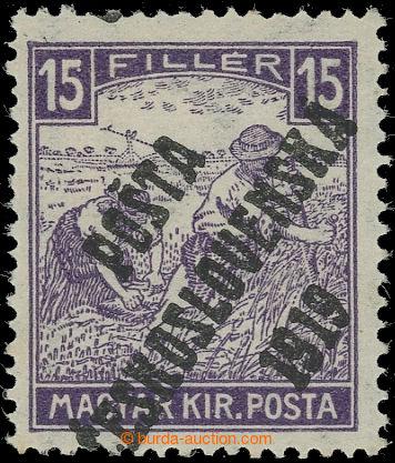 223167 -  Pof.100, Bílé číslice 15f fialová, II. typ; po nálepc
