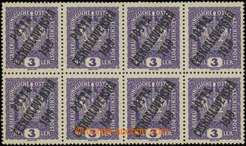 223194 -  Pof.33x, Koruna 3h fialová, tlustý papír, 8-blok (!), 3x
