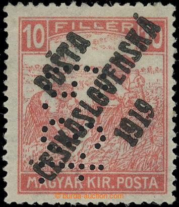 223199 -  Pof.99p, Bílé číslice 10f červená, I. typ , s perfine