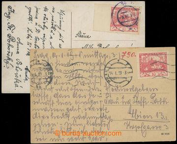 223285 - 1919 dvě pohlednice vyplacené zn. 10h červená, Pof.5 DV
