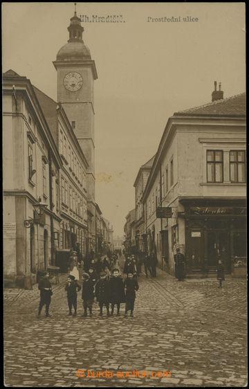 223395 - 1911 UHERSKÉ HRADIŠTĚ - reálfoto Prostřední ulice s li